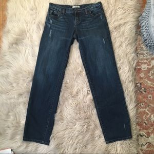 Free People Dark Wash Distressed Boyfriend Jeans